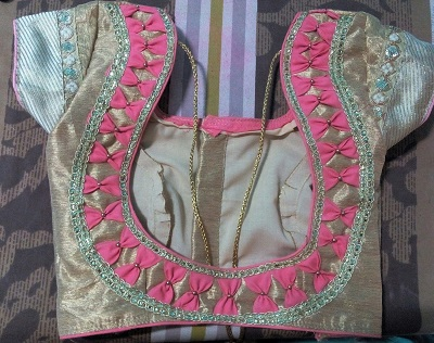 Bow Design Patch On Back Saree Blouse
