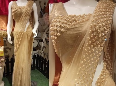 Brown Pearl Work Net Saree Blouse Designs
