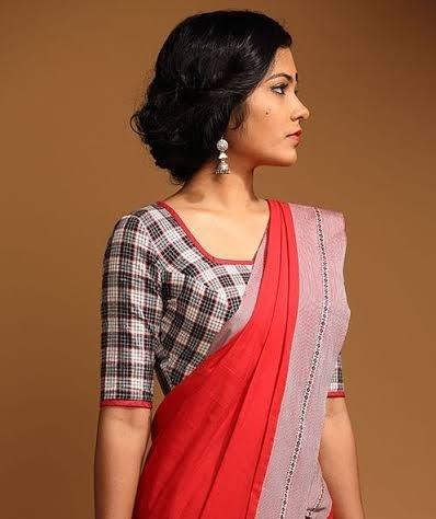 Geometric Print Cotton Blouse for Saree