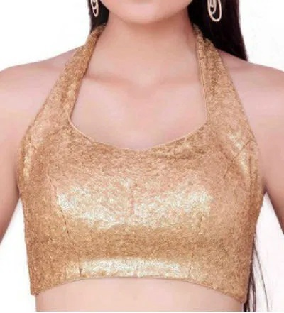 Golden Halter Neck Blouse