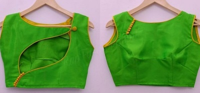 Green Blouse Design in Cotton Material