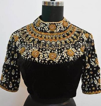 High Neck blouse with heavy work