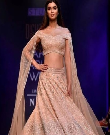 Off shoulder blouse design for Lehengas