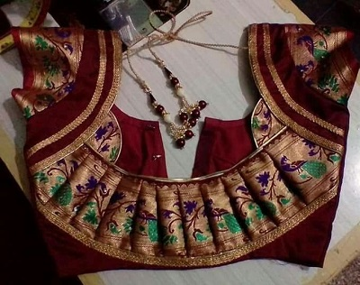 Pleated patch blouse for sarees