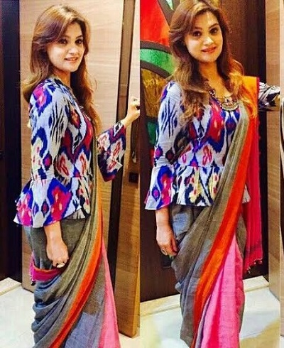 Printed long length blouse for saree