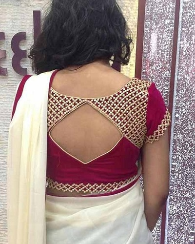 Stylish blouse design with patch work