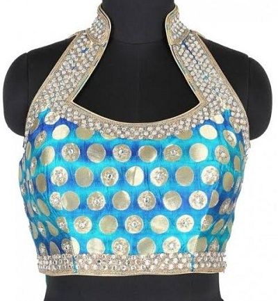 brocade halter saree blouse