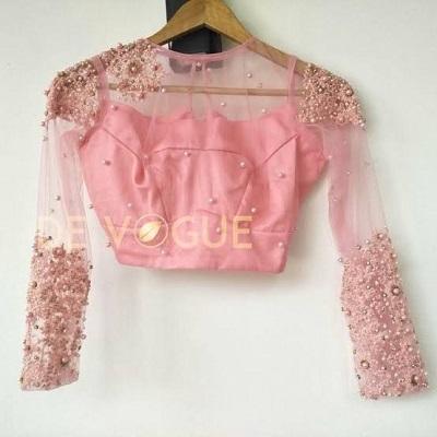 full sleeves net blouse design