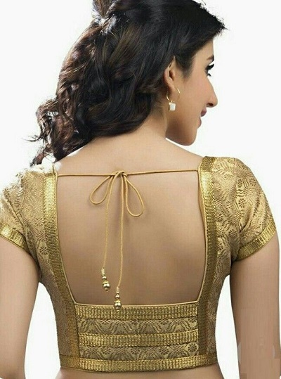 golden patch style blouse