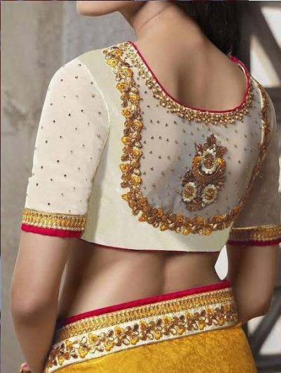 netted blouse back neck design