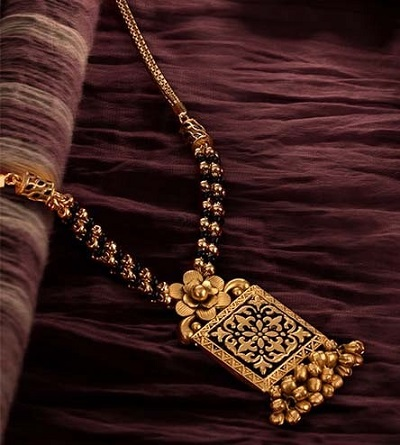 Antique Gold Mangalsutra With Rectangular Pattern