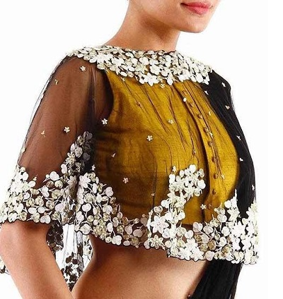 Front open blouse neck design for sarees