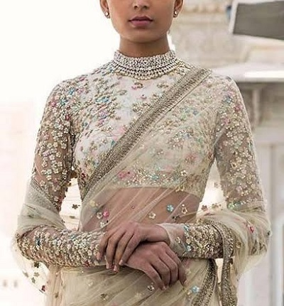 Full Sleeves blouse style with thread embroidery