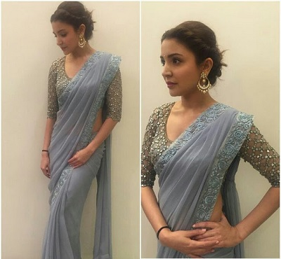 Grey plain saree with heavy sequin studded blouse