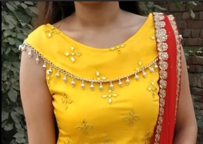 High Neck Collar Saree Blouse Design