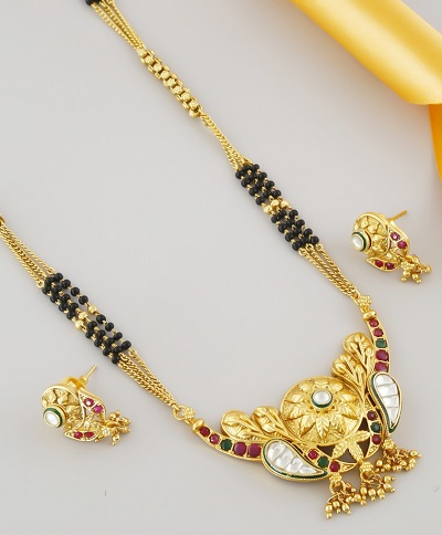Kundan And Stone Work Mangalsutra In Gold