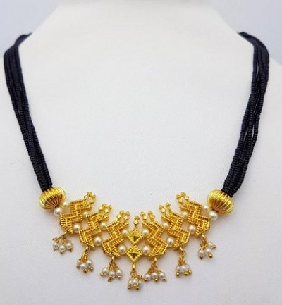 Mangalsutra With Golden Pearl Work