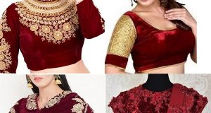 Maroon Velvet Saree Blouse Design1