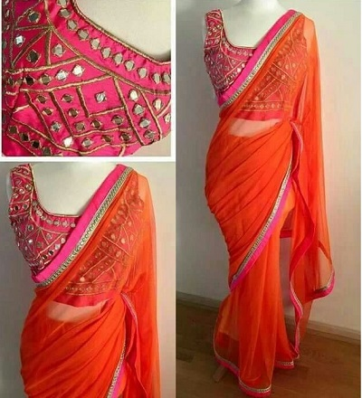 New model blouse with plain saree