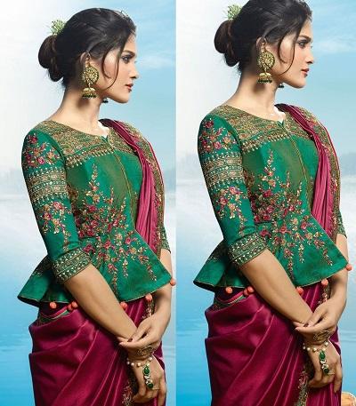 Silk peplum blouse for sarees and lehenga