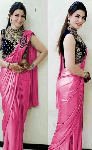 Stylish Black Heavy Embroidered Blouse With Plain Pink Saree