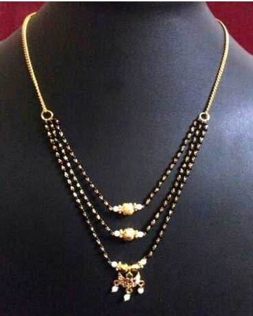 Three layered mangalsutra for parties