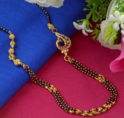 Without Pendant Mangalsutra Design With Three Rows