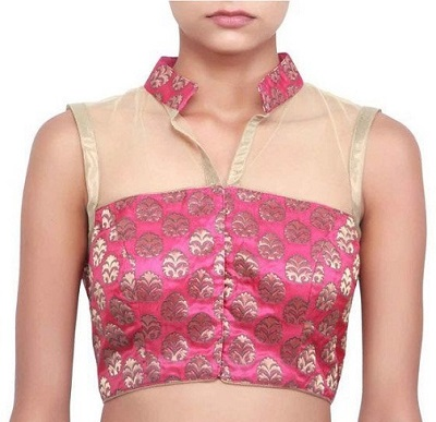 bandhani saree blouse neck design