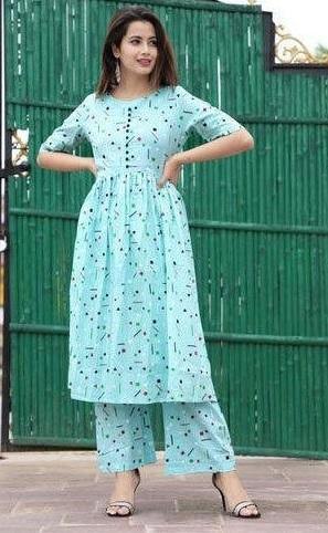 Anarkali Kurta With Plazo Pants For Office