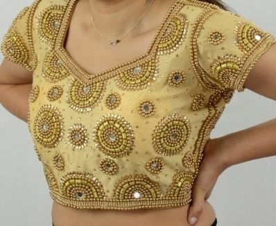 Bead Work Golden Blouse with Mirror Work