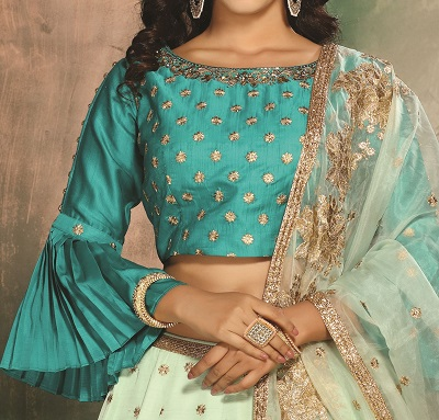 Bell Sleeves With Boat Neck Lehenga Blouse Design