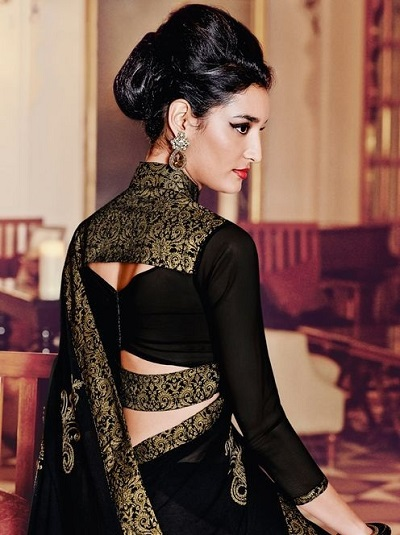Black Brocade Festive Wear Blouse Design