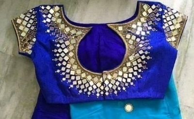 Blue Mirror and Stone Studded Blouse with Shaded Saree