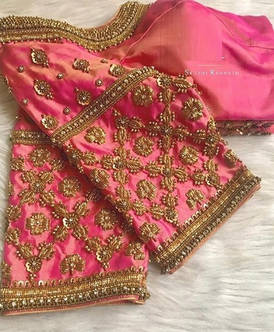Carrot pink bridal blouse with sequin and embroidery