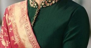 Chinese Collar Neckline Saree Blouse Design