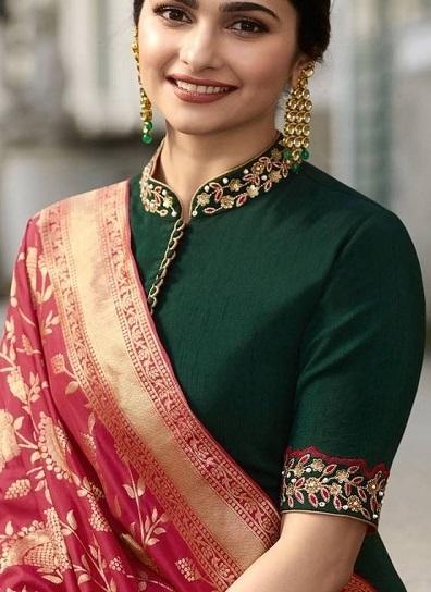 Chinese Collar Neckline Saree Blouse Design
