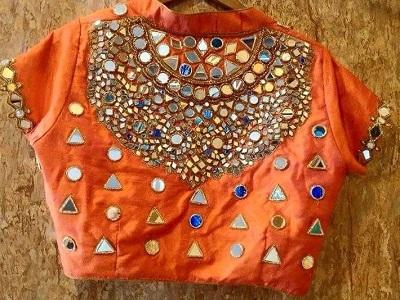 Collar High Neck Orange Mirror Work Blouse Design