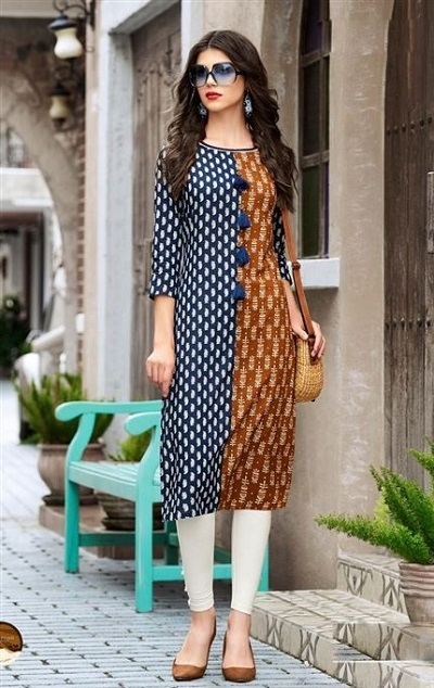 Contrasting Color Panelled Office Wear Kurti