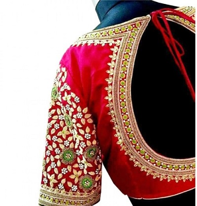 Delicate maggam embroidery and stone work blouse