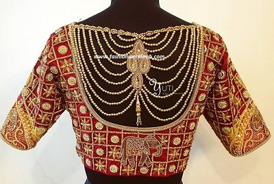 Elephant motif maggam red bridal blouse style