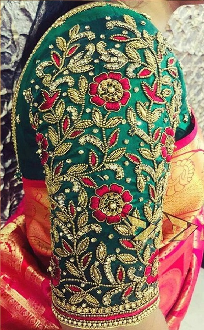 Embroidery and bead work bridal blouse design
