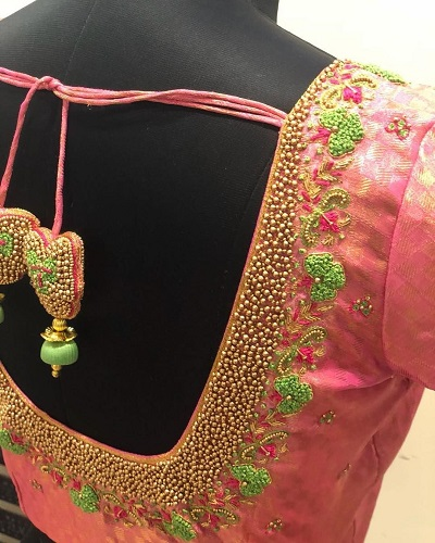 Embroidery and cluster bead work stylish blouse