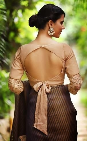 Fancy saree blouse backless pattern