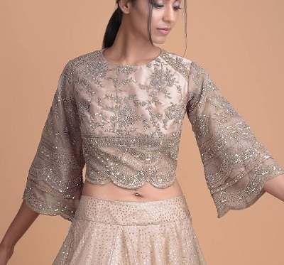 Full Bell Sleeves Lehenga Blouse Design