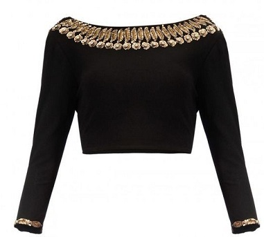 Full Sleeves Black Saree Blouse