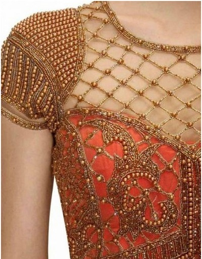 Golden bead maggam style blouse
