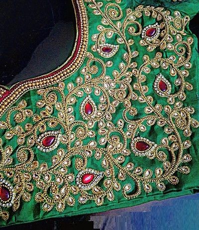 Green stone and embroidery work wedding wear blouse