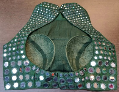 Halter Style Collared Blouse with Mirrors All Over