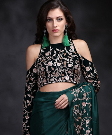 Highly Modern Black Saree Blouse Style