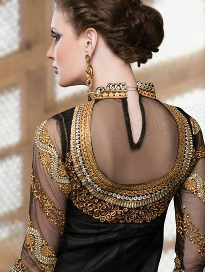 Jewellery Embroidered Black Saree Blouse